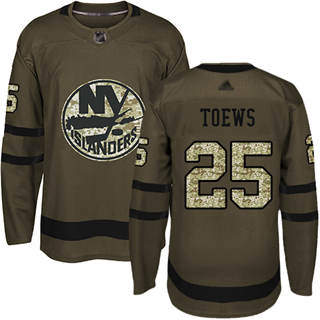 Men's Islanders #25 Devon Toews Green Salute to Service Stitched Hockey Jersey