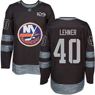 Men's Islanders #40 Robin Lehner Black 1917-2017 100th Anniversary Stitched Hockey Jersey