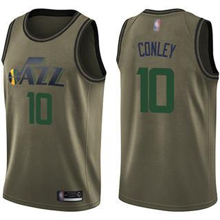 Men's Jazz #10 Mike Conley Green Basketball Swingman Salute to Service Jersey