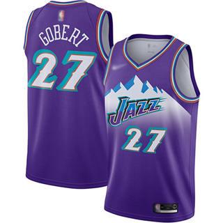 Men's Jazz #27 Rudy Gobert Purple Basketball Swingman Hardwood Classics Jersey