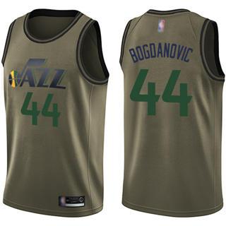Men's Jazz #44 Bojan Bogdanovic Green Basketball Swingman Salute to Service Jersey