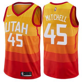 Men's Jazz #45 Donovan Mitchell Orange Basketball Swingman City Edition 2019-2020 Jersey