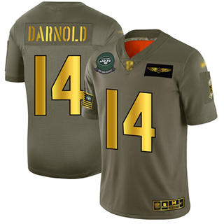 Men's Jets #14 Sam Darnold Camo Gold Stitched Football Limited 2019 Salute To Service Jersey