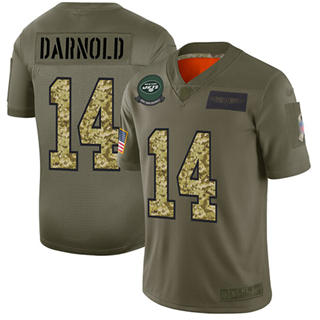 Men's Jets #14 Sam Darnold Olive Camo Stitched Football Limited 2019 Salute To Service Jersey