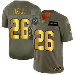 Men's Jets #26 Le'Veon Bell Camo Gold Stitched Football Limited 2019 Salute To Service Jersey