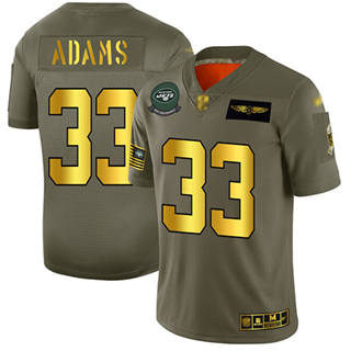 Men's Jets #33 Jamal Adams Camo Gold Stitched Football Limited 2019 Salute To Service Jersey