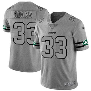 Men's Jets #33 Jamal Adams Gray Stitched Football Limited Team Logo Gridiron Jersey