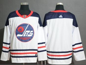 Men's Jets Blank White  Heritage Stitched Hockey Jersey