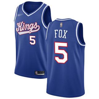 Men's Kings #5 De'Aaron Fox Blue Basketball Swingman Hardwood Classics Jersey