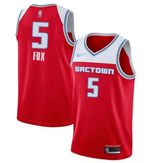 Men's Kings #5 De'Aaron Fox Red Basketball Swingman City Edition 2019-2020 Jersey