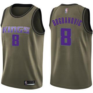 Men's Kings #8 Bogdan Bogdanovic Green Basketball Swingman Salute to Service Jersey
