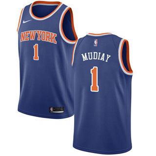Men's Knicks #1 Emmanuel Mudiay Blue Basketball Swingman Icon Edition Jersey