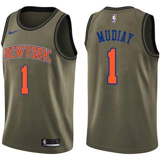 Men's Knicks #1 Emmanuel Mudiay Green Basketball Swingman Salute to Service Jersey