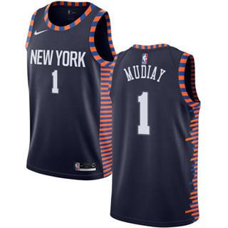 Men's Knicks #1 Emmanuel Mudiay Navy Basketball Swingman City Edition 2018-19 Jersey