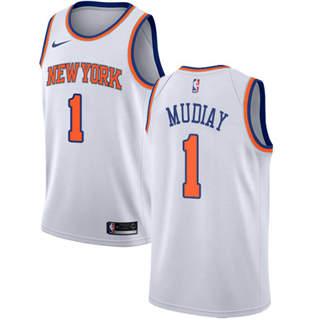 Men's Knicks #1 Emmanuel Mudiay White Basketball Swingman Association Edition Jersey