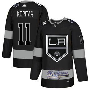 Men's LA Kings With Dodgers #11 Anze Kopitar Black  Hockey Hockey Jersey