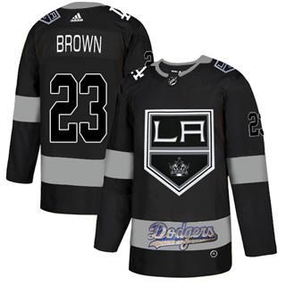 Men's LA Kings With Dodgers #23 Dustin Brown Black  Hockey Hockey Jersey