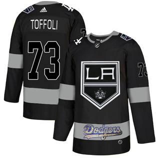 Men's LA Kings With Dodgers #73 Tyler Toffoli Black  Hockey Hockey Jersey