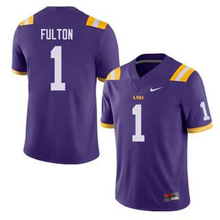 Men's LSU Tigers #1 Kristian Fulton Jersey Purple NCAA Football 19-20
