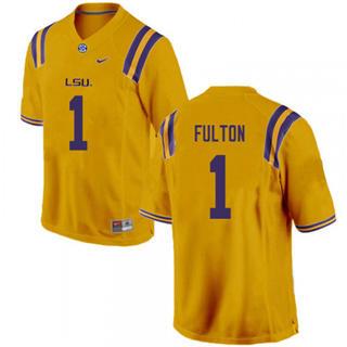 Men's LSU Tigers #1 Kristian Fulton Jersey Yellow NCAA Football 19-20