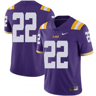 Men's LSU Tigers #22 Clyde Edwards-Helaire Jersey Purple No Name NCAA