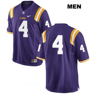 Men's LSU Tigers #4 K'Lavon Chaisson Jersey Purple No Name NCAA 19-20