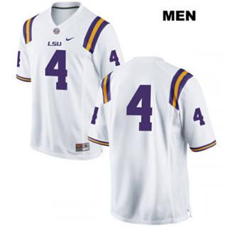 Men's LSU Tigers #4 K'Lavon Chaisson Jersey White No Name NCAA 19-20