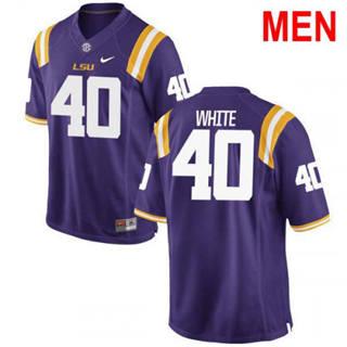 Men's LSU Tigers #40 Devin White 2019 NCAA Football Jersey Purple