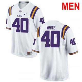 Men's LSU Tigers #40 Devin White White 2019 NCAA Football Jersey