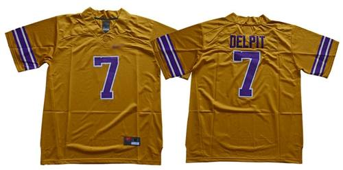 Men's LSU Tigers #7 Grant Delpit Gridiron Gold Limited Legend Stitched College Football Jersey