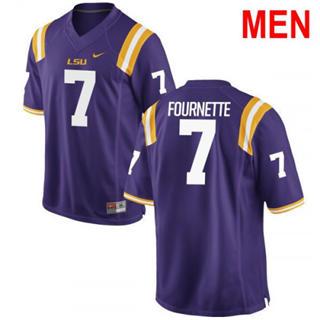 Men's LSU Tigers #7 Leonard Fournette 2019 NCAA Football Jersey Purple