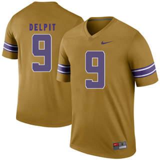 Men's LSU Tigers #9 Grant Delpit Jersey Gold NCAA Football 19-20