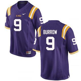 Men's LSU Tigers #9 Joe Burrow Jersey Purple NCAA Football 19-20