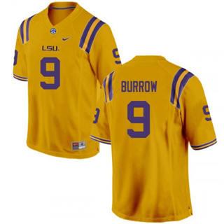 Men's LSU Tigers #9 Joe Burrow Jersey Yellow NCAA Football 19-20