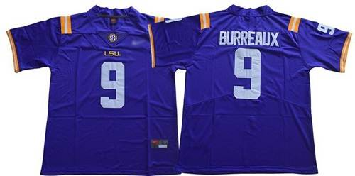 Men's LSU Tigers #9 Joe Burrow Purple Limited Burreaux Stitched College Jersey