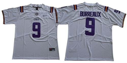 Men's LSU Tigers #9 Joe Burrow White Limited Burreaux Stitched College Jersey
