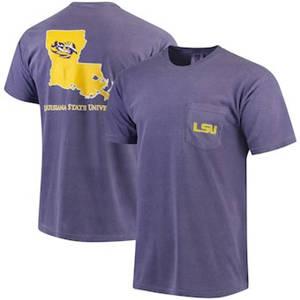 Men's LSU Tigers Southern Collegiate Comfort Colors State T-Shirt - Purple