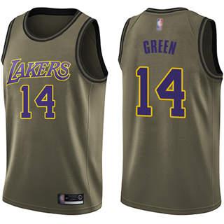 Men's Lakers #14 Danny Green Green Basketball Swingman Salute to Service Jersey