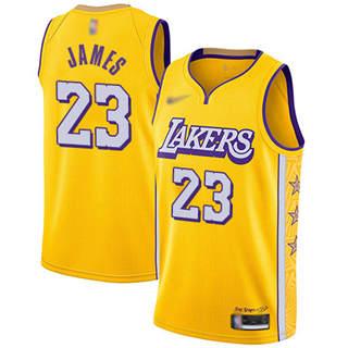 Men's Lakers #23 LeBron James Gold Basketball Swingman City Edition 2019-2020 Jersey