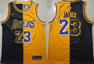 Men's Lakers #23 LeBron James Gold Black Split Swingman Basketball Jersey