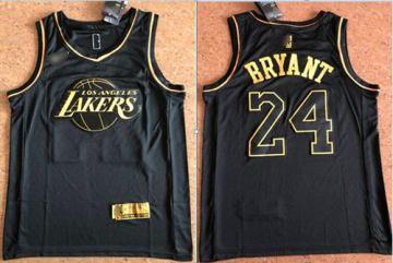 Men's Lakers #24 Kobe Bryant Black Gold Basketball Swingman Limited Edition Jersey