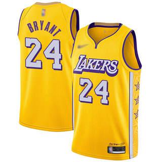 Men's Lakers #24 Kobe Bryant Gold Basketball Swingman City Edition 2019-2020 Jersey