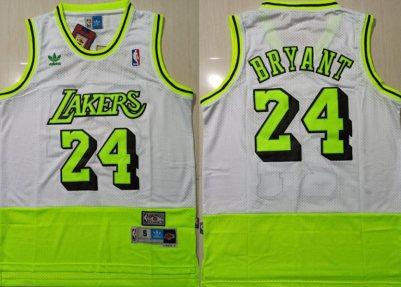 Men's Lakers #24 Kobe Bryant White Fluorescent Green Split Hardwood Classics Jersey
