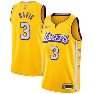 Men's Lakers #3 Anthony Davis Gold Basketball Swingman City Edition 2019-2020 Jersey