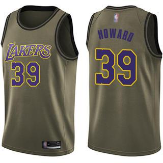 Men's Lakers #39 Dwight Howard Green Basketball Swingman Salute to Service Jersey