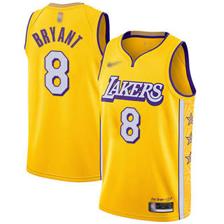 Men's Lakers #8 Kobe Bryant Gold Basketball Swingman City Edition 2019-2020 Jersey