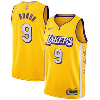 Men's Lakers #9 Rajon Rondo Gold Basketball Swingman City Edition 2019-2020 Jersey