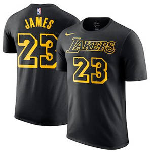 Men's LeBron James Los Angeles Lakers  City Edition Name & Number Performance T-Shirt – Black