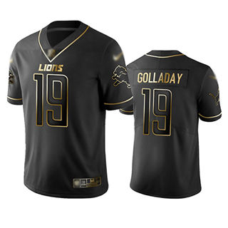 Men's Lions #19 Kenny Golladay Black Stitched Football Limited Golden Edition Jersey