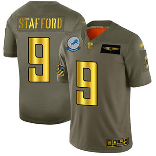 Men's Lions #9 Matthew Stafford Camo Gold Stitched Football Limited 2019 Salute To Service Jersey